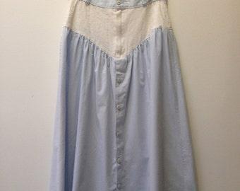 Vintage Powder Blue/Eyelet Maxi Skirt
