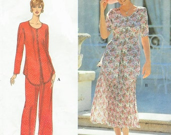 90s Maren Dress Womens Boho Pantsuit or Two Piece Dress Simplicity Sewing Pattern 9439 Size 18 20 22 Bust 40 42 44 UnCut Tunic and Skirt