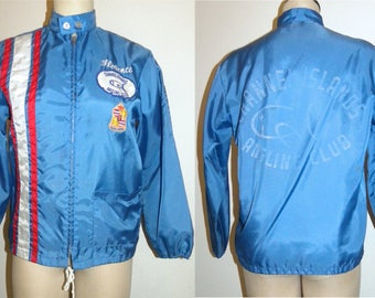 1960s 60s Zip-Up Nylon Jacket / Pla-Jac Angler's Club Fishing California Windbreaker / Made USA / Patches Stripes / Vintage size Small