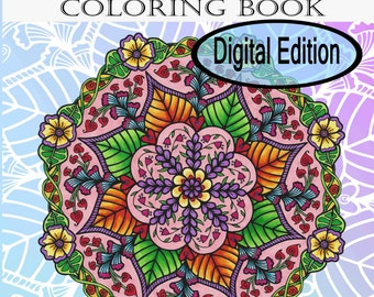 Digital Edition Mandala Doodle Flower Coloring Book for adult coloring and all age