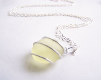 Sea Glass Bridesmaids sets - Citrus Yellow Necklace with Glass Pearl Option - Other Colors and Earrings Available - Weddings - seaside