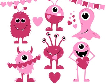 Valentine's Day Clipart, Valentine Clip Art, Monster Clipart, Love Monsters, Digital Monsters