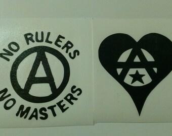 2 Decal set: No Rulers No Masters Anarchy Symbol Heart Vinyl Decals