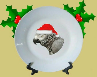 """Christmas Congo African Grey Parrot Santa White Decorative Ceramic 8"""" Plate and Display Stand"""