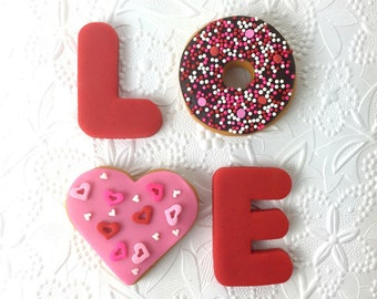 Valentine's Day Candy - LOVE Box of Marzipan Donuts!  Celebrate Valentine's Day with Donuts!  #LOVEISINTHEAIR