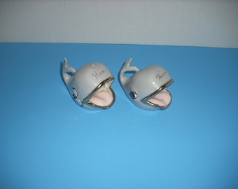 Vintage Ceramic Whale Figurines