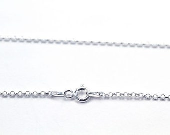 Solid Sterling Silver 2mm Rolo Chain , Made in Italy , Pendant Chain , Ladies Chain