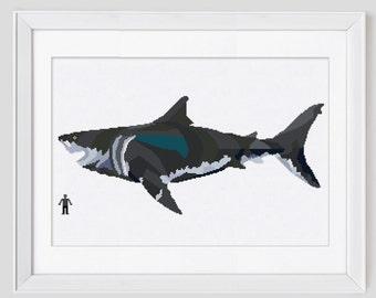 Cross stitch pattern, Megladon shark counted cross stitch, Megladon shark cross stitch pattern, fish cross stitch pdf pattern