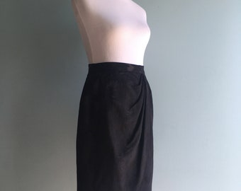 80s Black/Patterned Tulip Skirt//Gathered/Pleat Front//Small