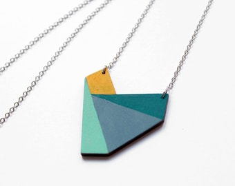 Geometric wooden polygon necklace - blue, turquise, mustard - minimalist, modern jewelry - color blocking