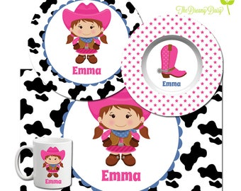 Cowgirl Personalized Plate - Kids Plate, Bowl, Mug & Placemat - Cowgirl Dinnerware - Custom Kids' Tableware - Microwave Safe - Melamine Free