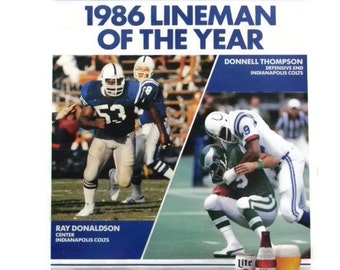 Vintage Poster 80s Football Indianapolis Colts 1986 Lineman of the Year