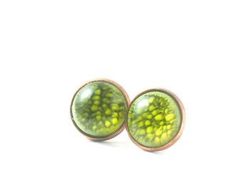 Green stud post earrings, Galaxy round earrings, Green resin earrings, Science jewelry, Planet earrings, Resin Jewelry