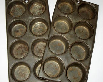 2 Vintage Rusty Primitive  Mini Muffin Tins  - for Votives, Small Supplies, etc.