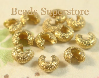 4 mm Gold-Plated Brass Stardust Crimp Bead Cover - Nickel Free and Lead Free - 50 pcs