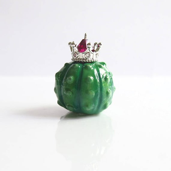 KING OF CACTI - Handmade Polymer Clay Sculpture With a Swarovski Crystal