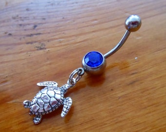Belly Button Ring - Body Jewelry - Silver Turtle Belly Button Ring