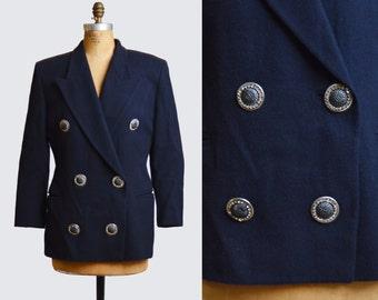 Vintage 90s Navy Italian Cashmere Wool Blazer / Oversized Jacket / Rhinestone Button Jacket m l
