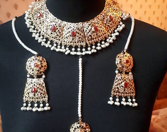 Hyderabadi jewelry Pakistani indian necklace set tikka earrings gold plated in ruby stone **special offer**