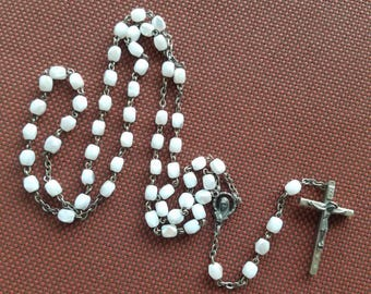 Vintage white, pearescent glass bead Rosary ~Rare find