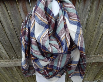 Maroon / Green / Blue / White Plaid Blanket Scarf