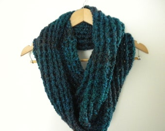 Crochet Blue Scarf  Infinity Crochet Chunky Thick Neckwarmer