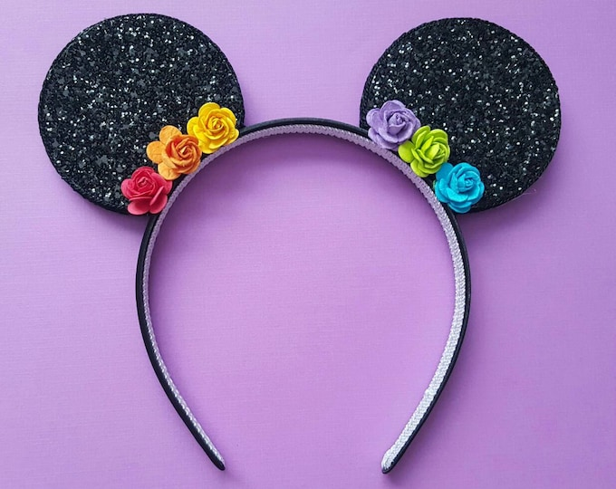Glittery Rainbow Flower Minnie Mouse Ears Headband || Minnie Mouse Birthday || Minnie Mouse Headband || Minnie Ears