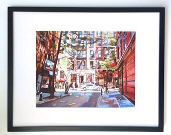 Greenwich Village NYC Painting, Minetta Lane MacDougal Street New York Art 16x20 Framed New York City Cityscape by Gwen Meyerson