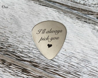 Engraved guitar pick by Oxee, custom names, gift for him, personalized guitar picks, I'll always pick you