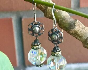 earrings: swarovski crystal and sterling silver flowers