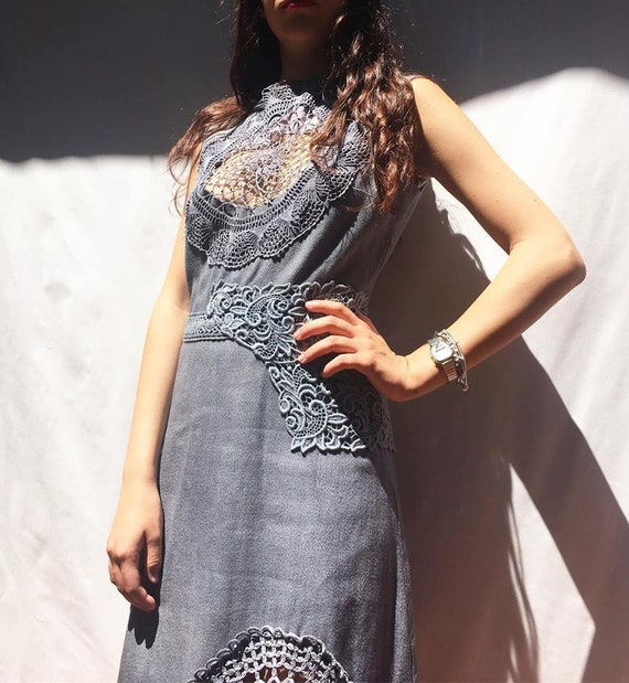 Sexy Elegant Gray sheath dress with crochet nude-effect inserts LOLADARLING Hand dyed gradient effect from Made in Italy from Vintage Unique