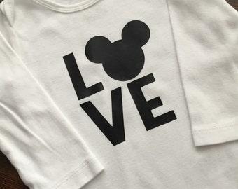 Mickey onesie, custom onesie, love