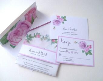 Pink roses wreath wedding invitation suite, pink and lavender flowers, romantic watercolor roses, custom printed handkerchiefs, set of 25