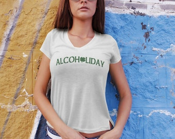Alcoholiday St. Patrick's Day | Ringspun Unisex and Ladies Fit Tee | Saint Patrick's Drinking Pub Clothing