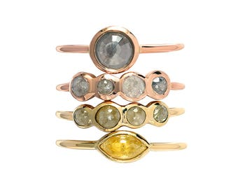 Rose Cut Diamond Ring, Rustic Diamond Engagement Ring, Grey Diamond Ring, Yellow Diamond Ring, Marquise Diamond Ring, Stacking Bands, Nixin
