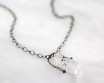 Herkimer Diamond Quartz Pinned Oxidized Silver Necklace