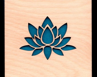 4 Lotus Coasters wooden laser cut natural eco-friendly Waterproof plywood birch and Felt