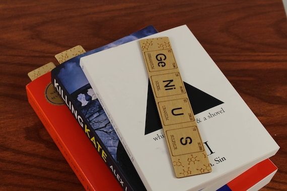 """Periodic Table of Elements, """"GeNiUS"""", Wooden Bookmark,  Russian Birch, Laser engraved, Paul Szewc"""