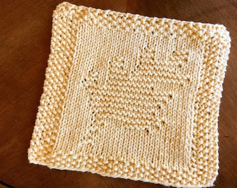 Knitted Golden Autumn Leaf Dishcloth/Washcloth (READY TO SHIP!)