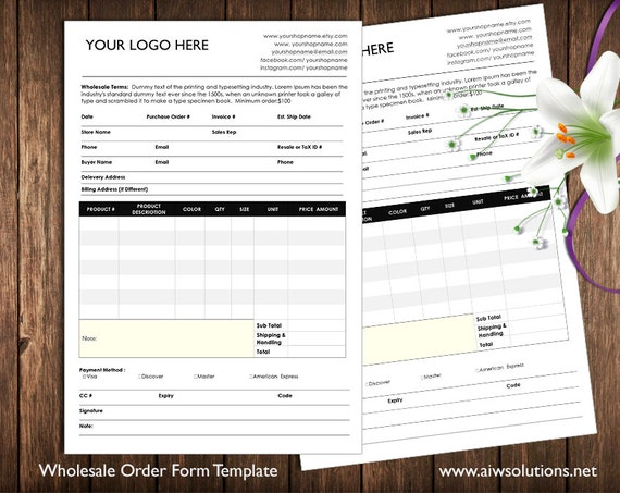 Order Form And Price Sheet On One Page Wholesale Order Form