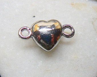 2 silver hearts magnetic metal clasps 17 x 10 x 7mm