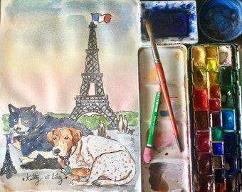 A custom watercolor portrait of your pet in Paris.