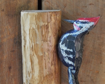 Carved Pileated Woodpecker on Pine Tree Door Post or Wall Mounted