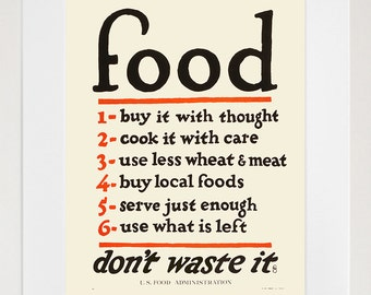 Food - Kitchen Art - Vintage US Food Print - Healthy Food -  Art Print