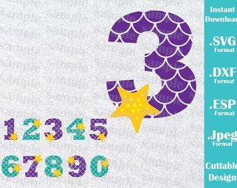 INSTANT DOWNLOAD SVG Disney Inspired Princess Ariel Numbers Birthday Mermaid Cutting Machines Svg, Esp, Dxf, Jpeg Format Cricut Silhouette