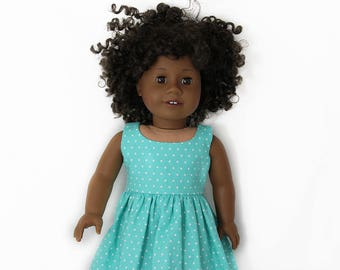 "Teal Summer Sundress for 18"" play vinyl Dolls such as American Girl or Our Generation"