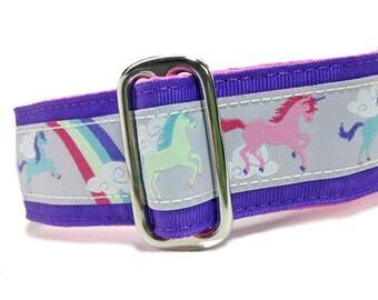 "1.5"" Dog Collar Unicorns Purple - Choose Your Collar Style!"