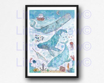 Baleine baleines impression sous la nuit étoilée de mer peinture aquarelle baleine Art Print nautiques baleines Illustration salle de bain mural Wall Art Decor