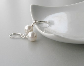 Pearl and Silver Earrings, White Pearl Bridal Earrings, Large Pearl Earrings, Pearl Drop Earrings, Modern Jewelry, Bridesmaid Jewelry