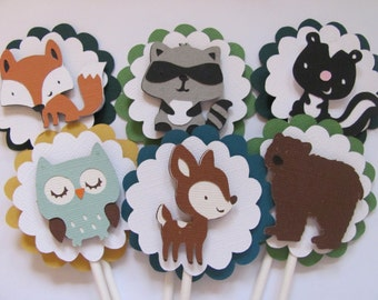 SET OF 12 Cupcake Toppers,  Woodland animal cupcake toppers